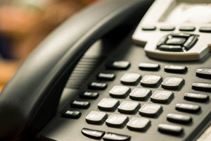 Close up of VoIP business phone