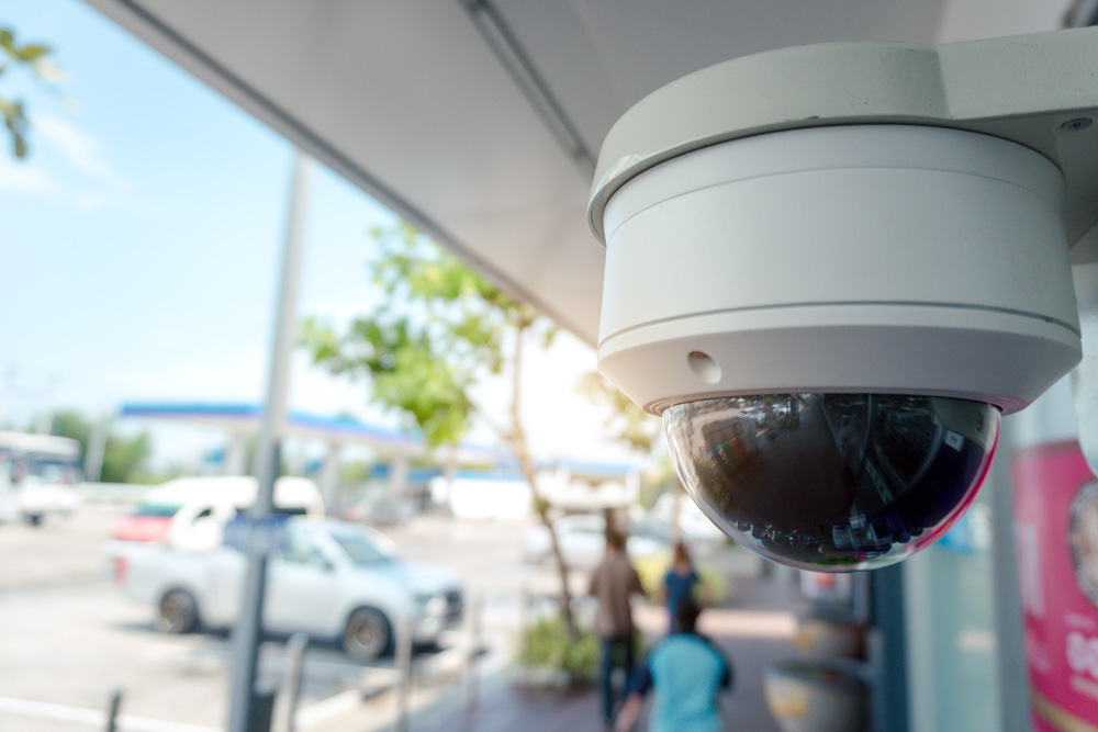 Security camera outside a Phoenix-area business for crime prevention